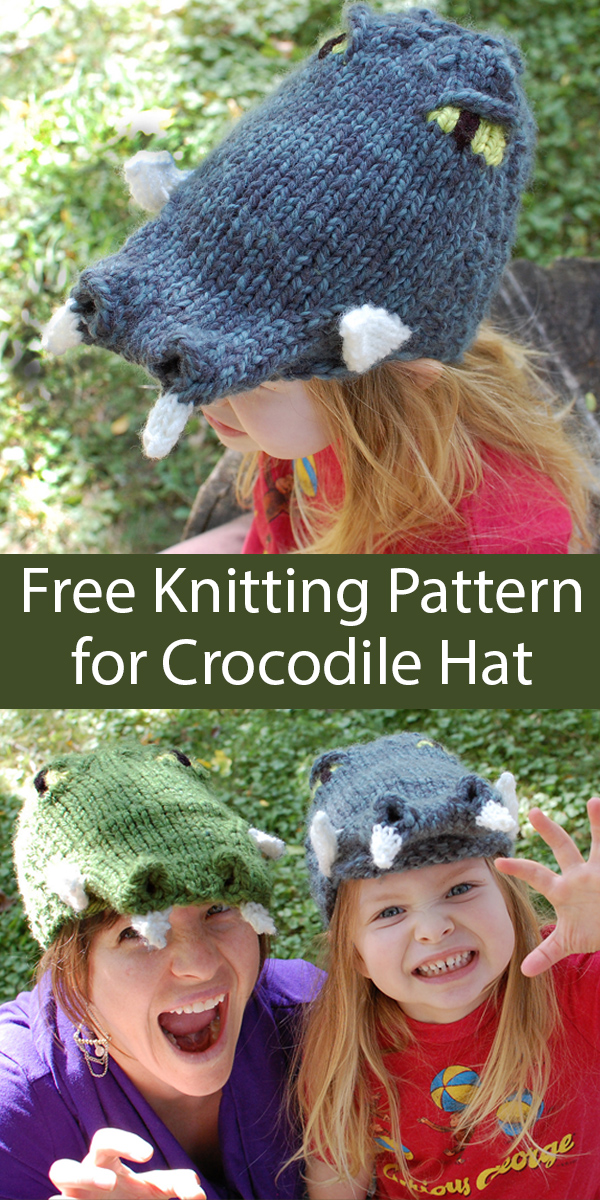 Free Knitting Pattern for Crocodile Hat