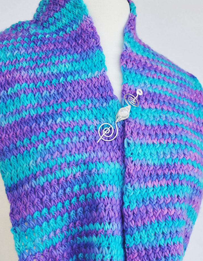 Free Knitting Pattern for 4 Row Repeat Meandering Brook Scarf or Cowl