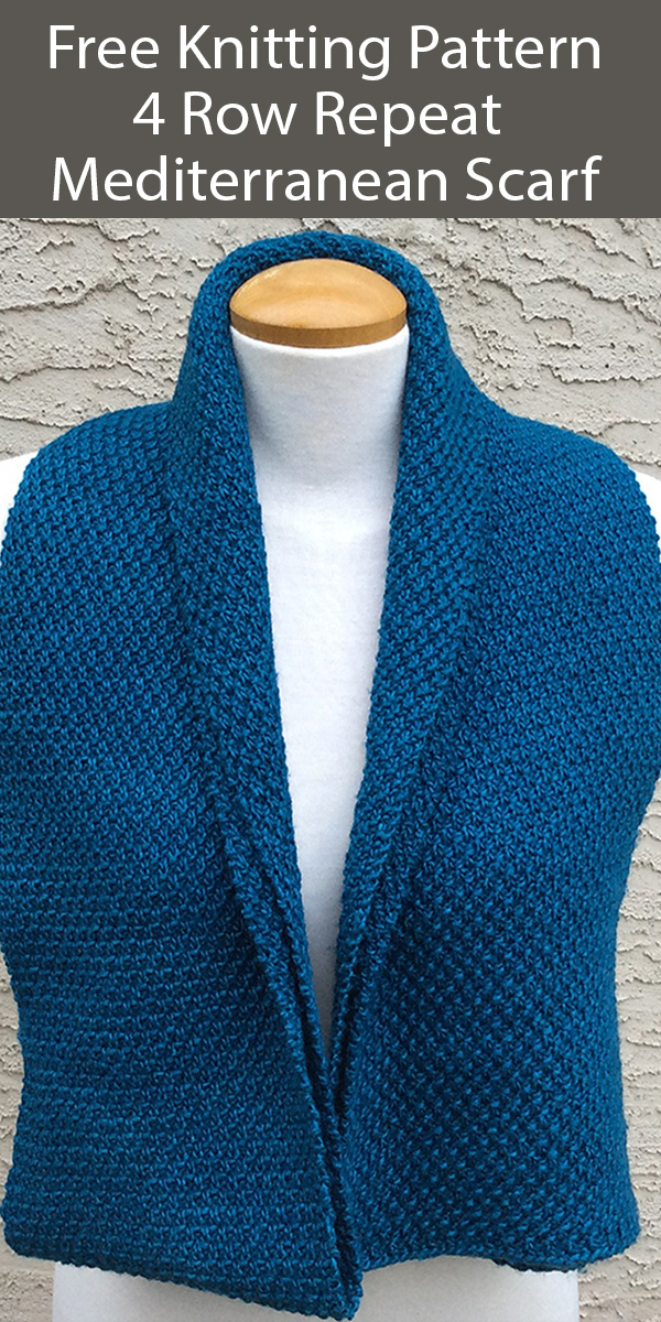 Free Knitting Pattern for 4 Row Repeat Mediterranean Scarf