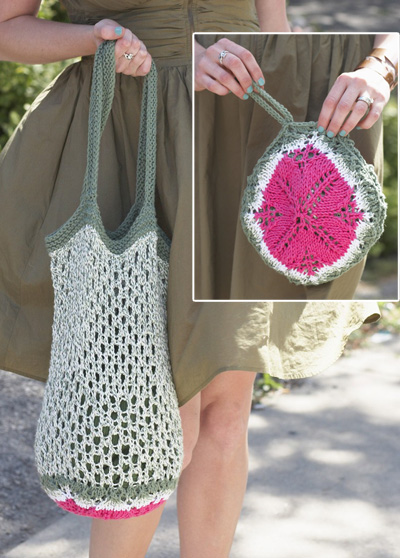Free knitting pattern for Melon Pocket Bag