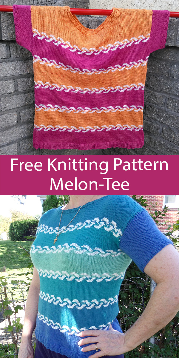 Free Tee Top Knitting Pattern Easy Melon Tee Sweater
