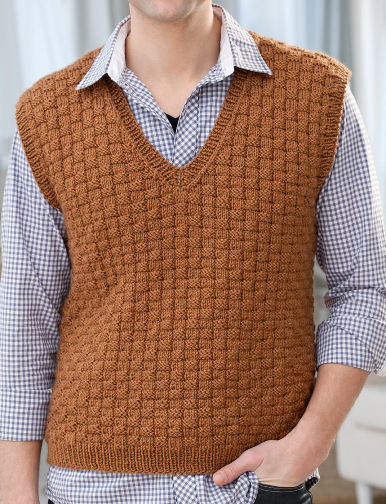Free Knitting Pattern for Men's Basketweave Vest