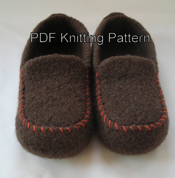 Knitting pattern for Men's Felted Slippers