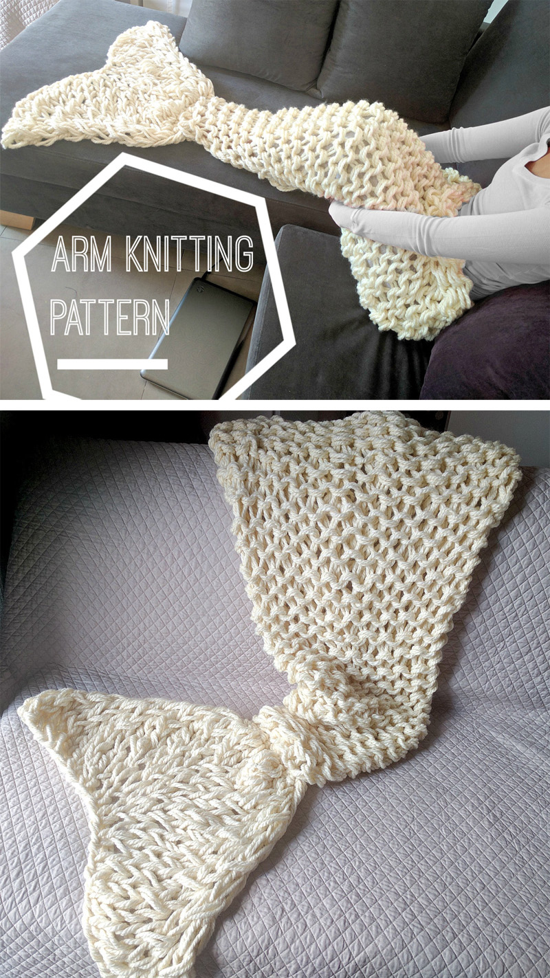 Knitting Pattern for Mermaid Tail Arm Knit Afghan
