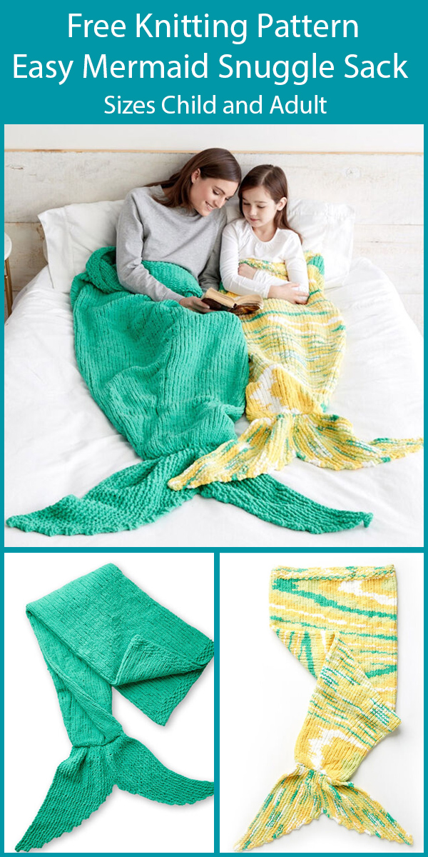 Free Knitting Pattern for Easy Mermaid Snuggle Sack