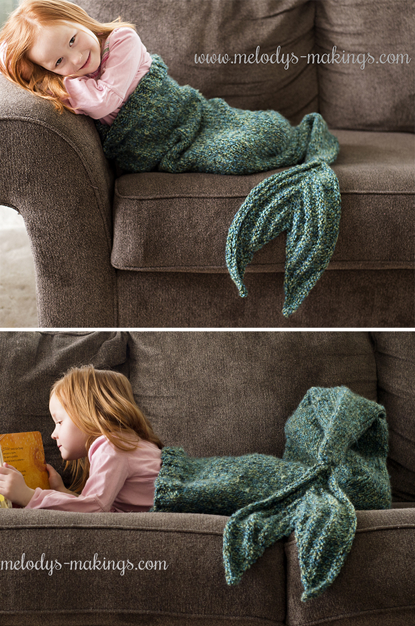 Free Knitting Pattern for Mermaid Tail Blanket - Adult and Child Sizes