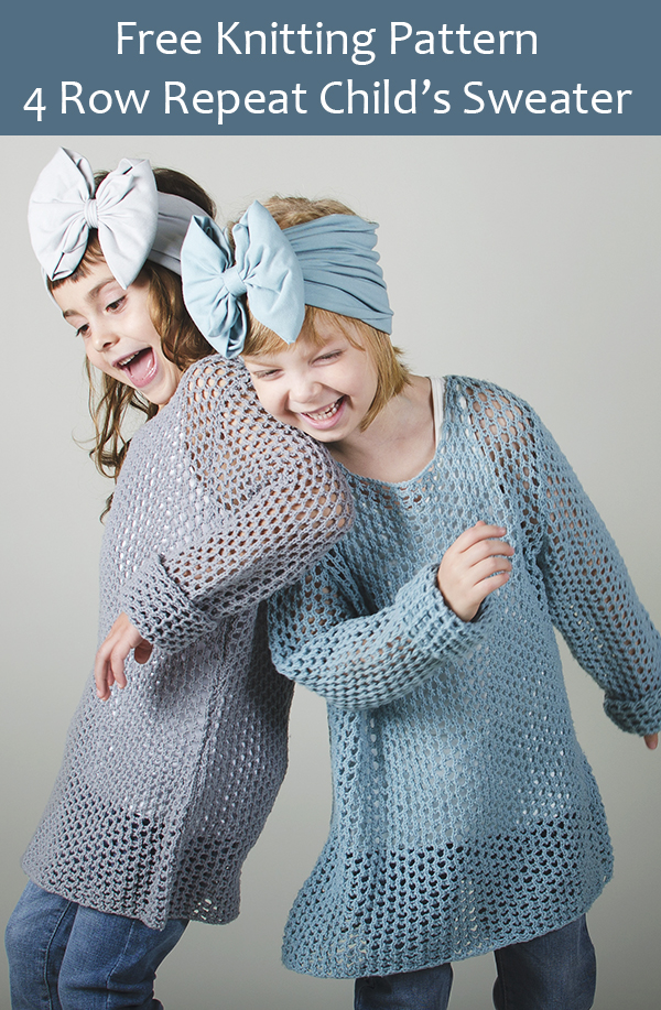 Free Knitting Pattern for 4 Row Repeat Mesh Sweater for Children