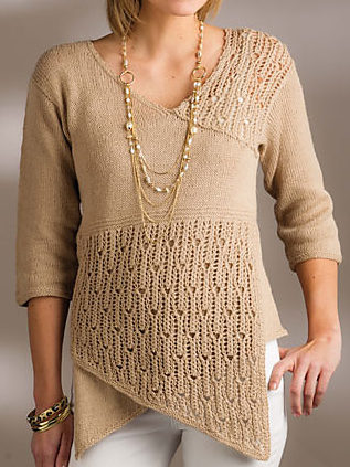 Knitting Pattern for Metta Lace Pullover