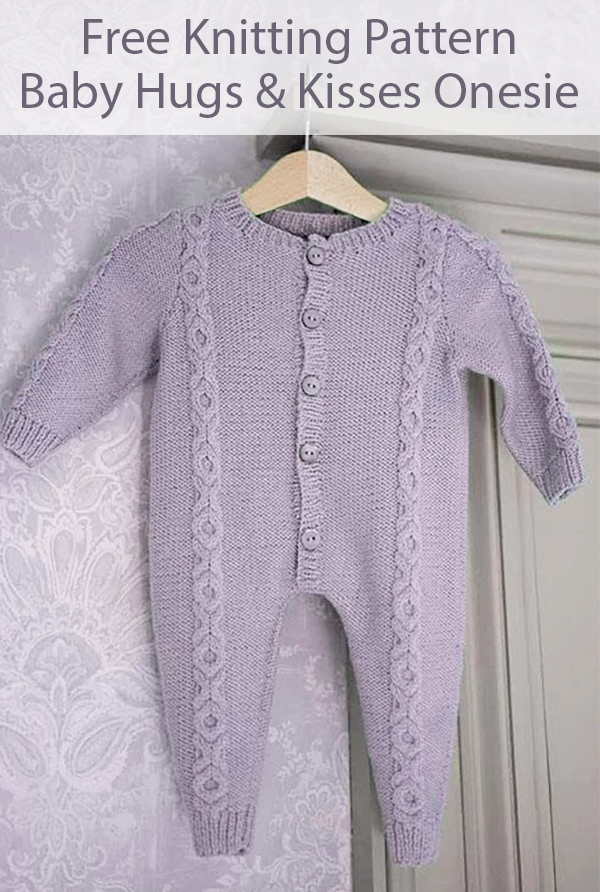 Free Knitting Pattern for Hugs and Kisses Baby Onesie
