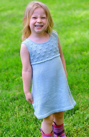 Knitting pattern for Midsummer Meadow Dress for child