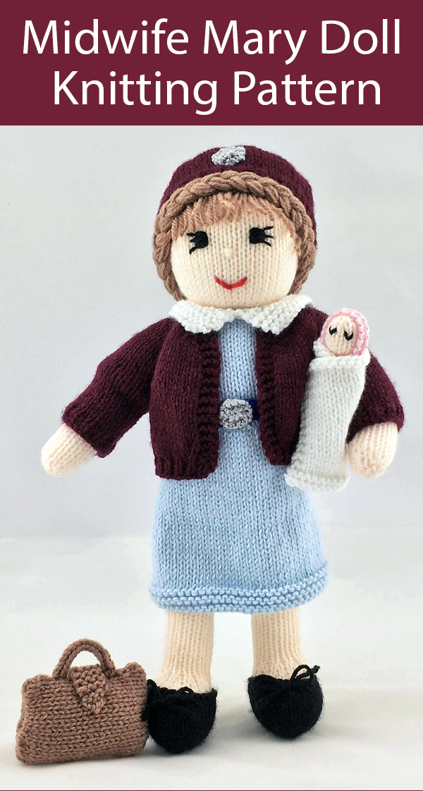 Knitting Pattern for Midwife Mary Nurse Doll