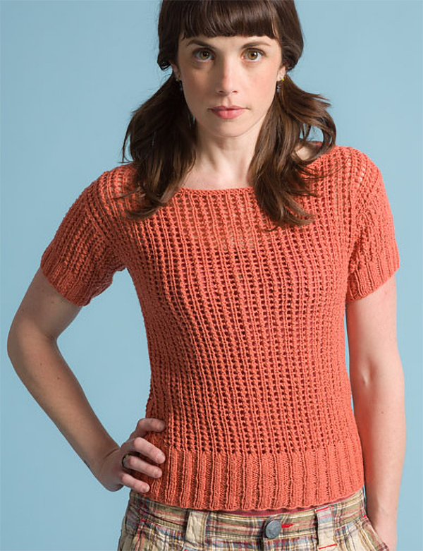 Free Knitting Pattern for 2 Row Repeat Mika Tee