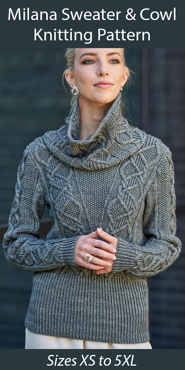Sweater Knitting Pattern Milana Sweater and Cowl
