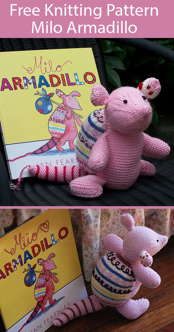 Free Knitting Pattern for Milo Armadillo Toy