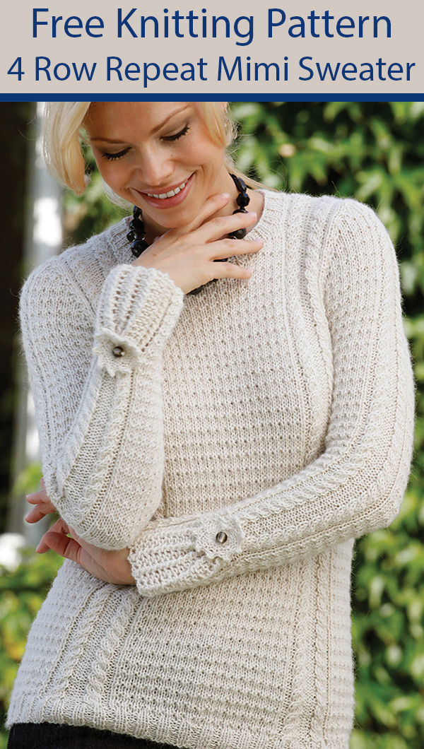 Free Knitting Pattern for 4 Row Repeat Mimi Sweater