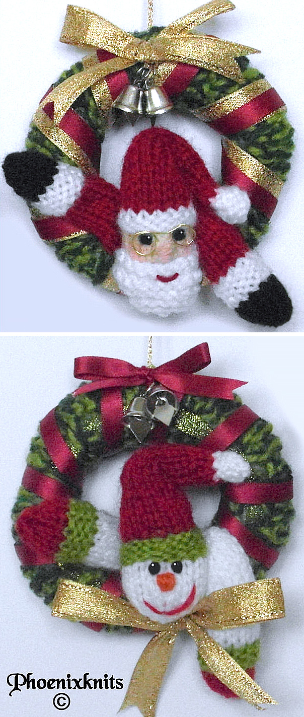 Free Knitting Pattern for Mini Christmas Wreath Ornaments