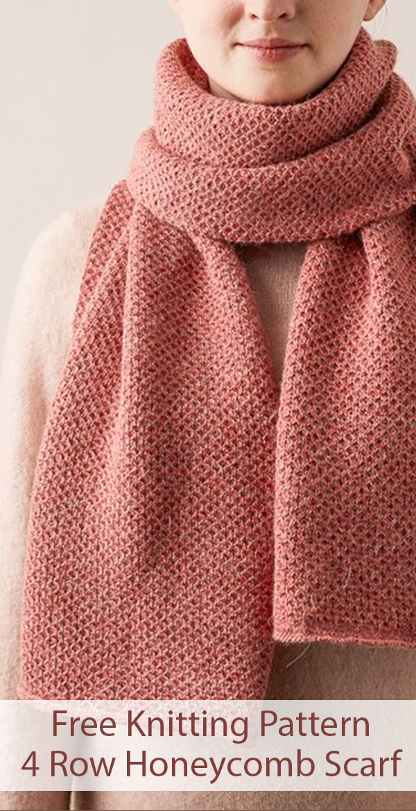 Free Knitting Pattern for 4 Row Repeat Mini Honeycomb Scarf