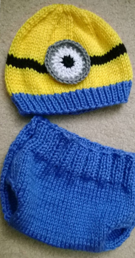 Knitting Pattern for Minion Baby Hat and Diaper Cover Set