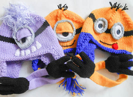 Knitting Pattern for Minion Earflap Hats