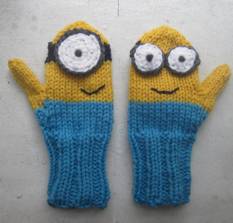 Free Knitting Pattern for Minion Mittens