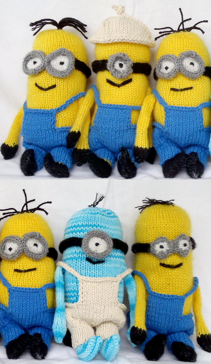Free Knitting Pattern for Minion Softies 9 inch