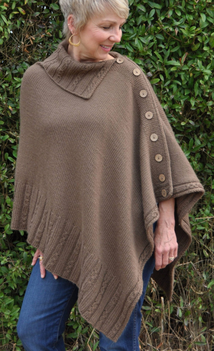 Knitting Pattern for Miriam Cable Poncho
