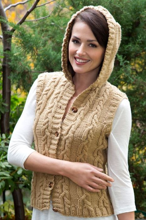Free Knitting Pattern for Hooded Vest with Mirror Cable