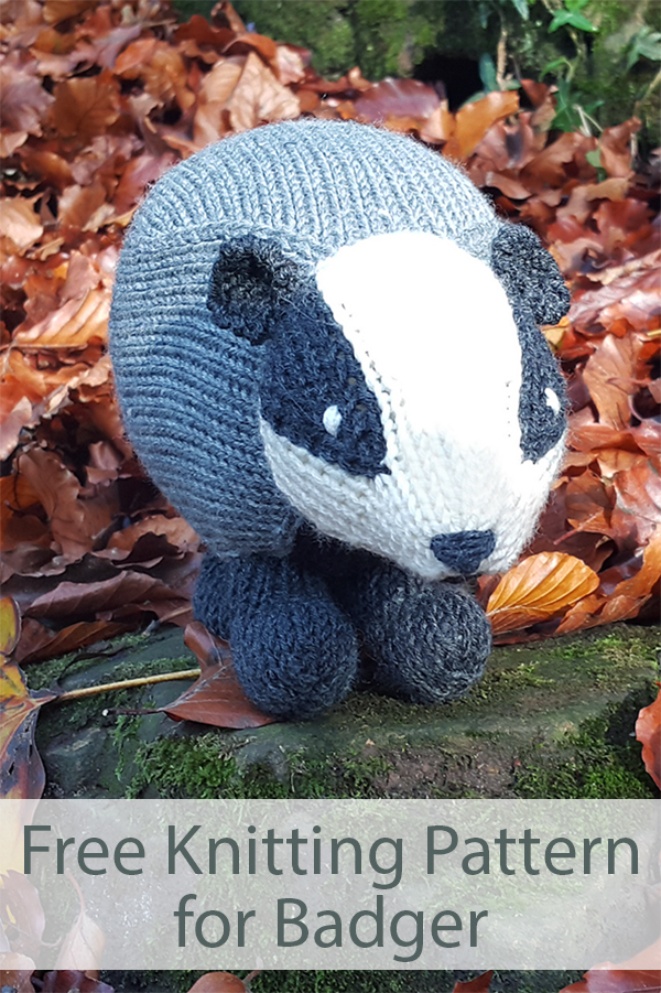 Free Knitting Pattern for Badger Toy Softie