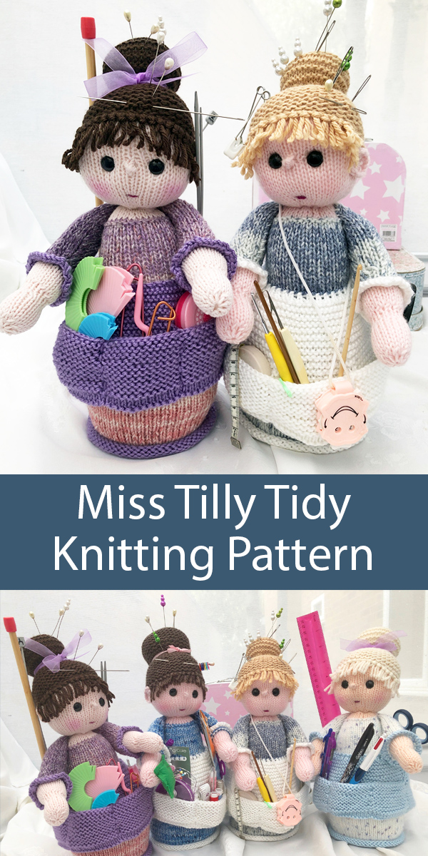 Knitting Pattern for Miss Tilly Tidy Craft Organizer Doll