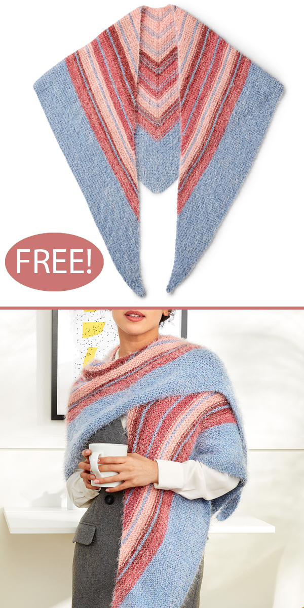 Free Knitting Pattern for Misty Chevron Shawl