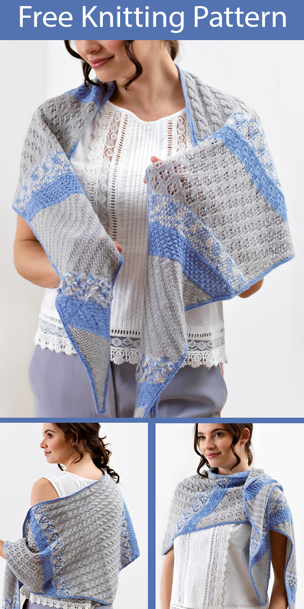 Free Knitting Pattern for Misty Meadow Textured Shawl