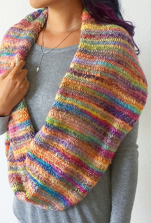 Free Knitting Pattern for Misty Rainbow Infinity Scarf