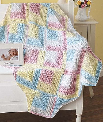 Knitting Pattern for Mitered Eyelet Baby Blanket