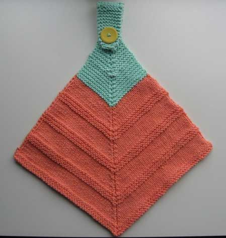Free knitting pattern for Mitered Hanging Towel