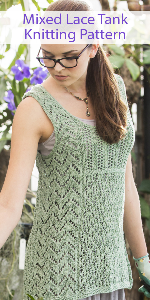 Knitting Pattern for Mixed Lace Tank Top Sizes XS to 3X
