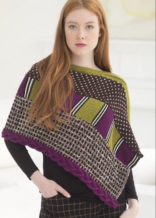 Mixed Media Poncho Free Knitting Pattern