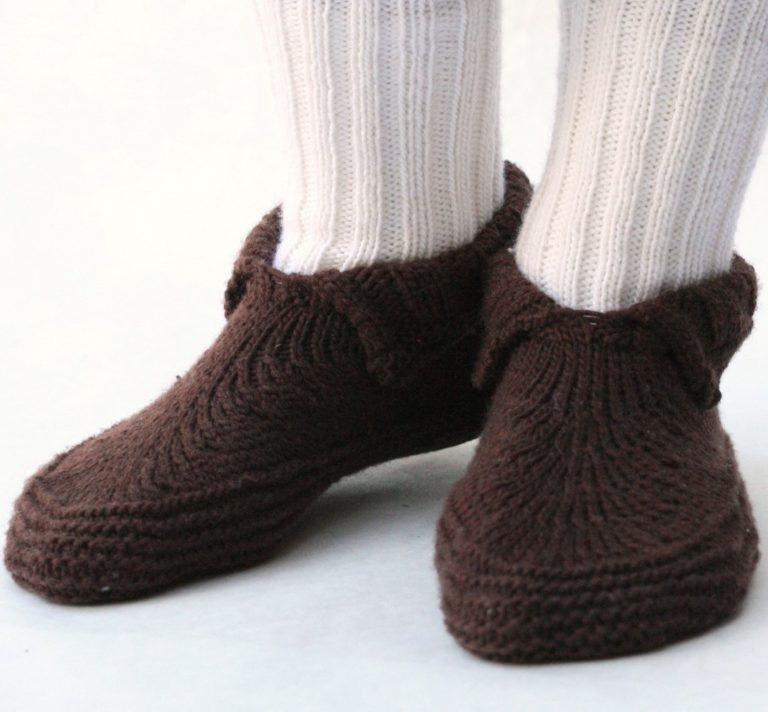 Free Knitting Pattern for Adult Moc-a-Sock Slippers