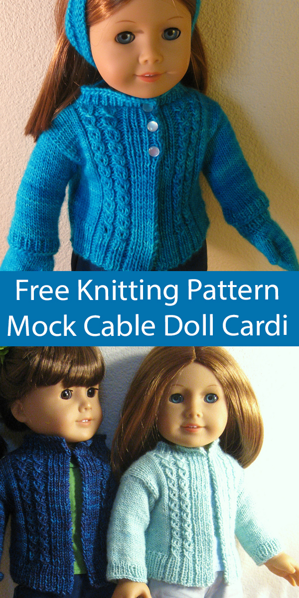 Free Doll Clothes Knitting Pattern Mock Cable Doll Cardigan