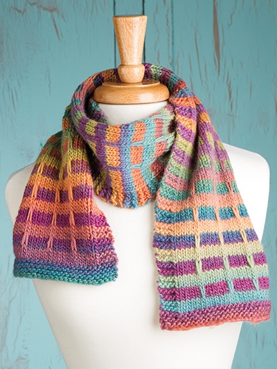 Free knitting pattern for Mock Plaid Scarf and more colorful scarf knitting patterns