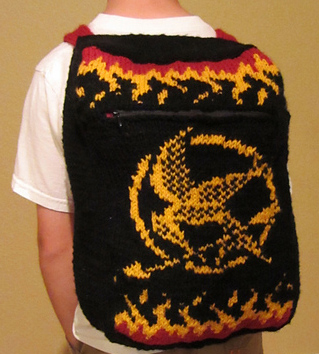 Mockingjay Backpack Free Knitting Project | Knitting patterns inspired by The Hunger Games books and movies http://intheloopknitting.com/hunger-games-knitting-patterns/