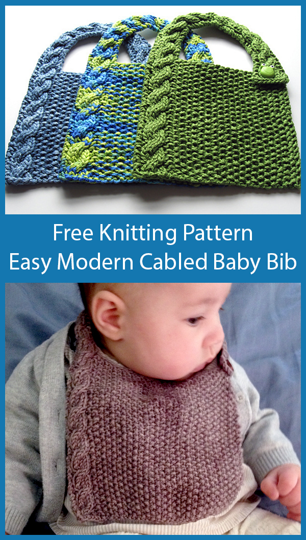 Free Knitting Pattern for Easy Modern Cabled Baby Bib