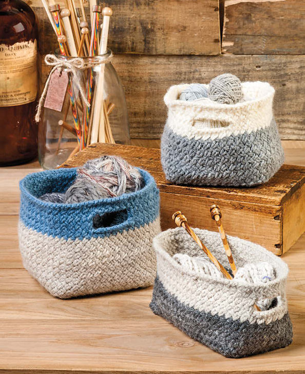 Knitting Pattern for Modern Cubist Baskets