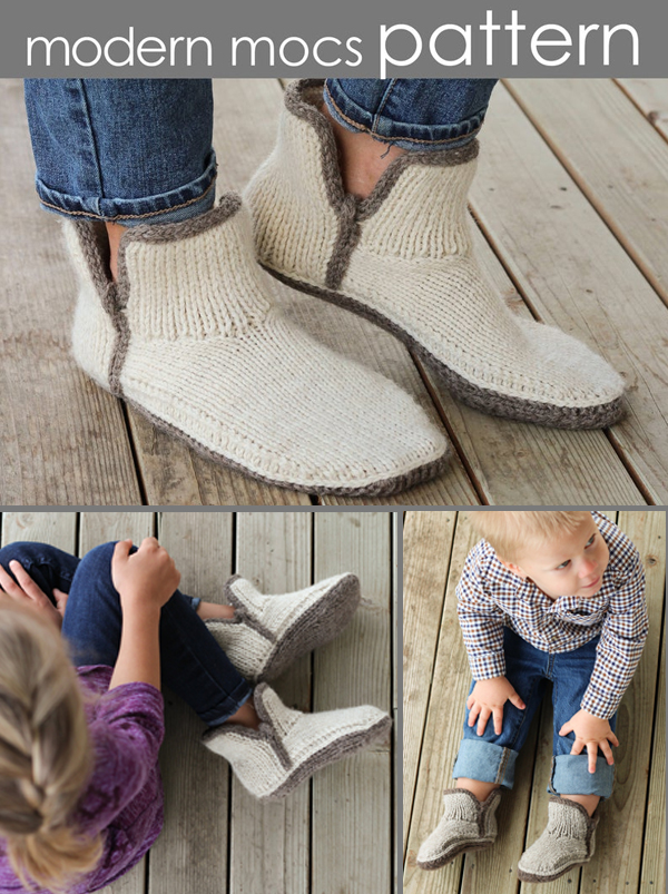 Knitting Pattern for Modern Mocs Slippers for the Whole Family
