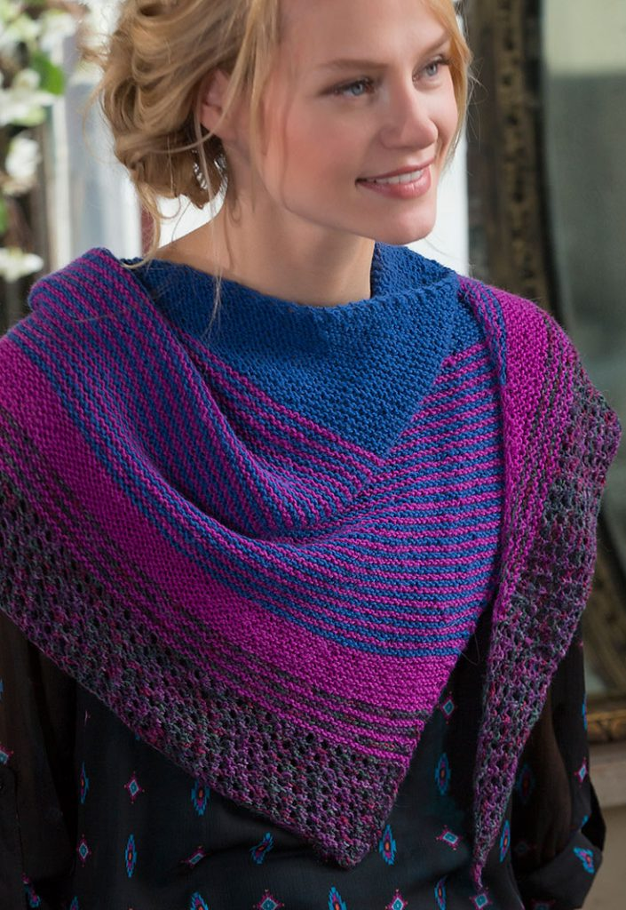 Free knitting pattern for Modern Stripe Shawl easy pattern