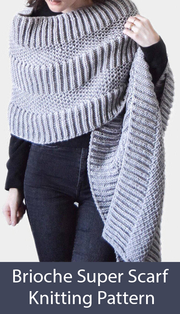 Knitting Pattern for Brioche Wrap Super Scarf