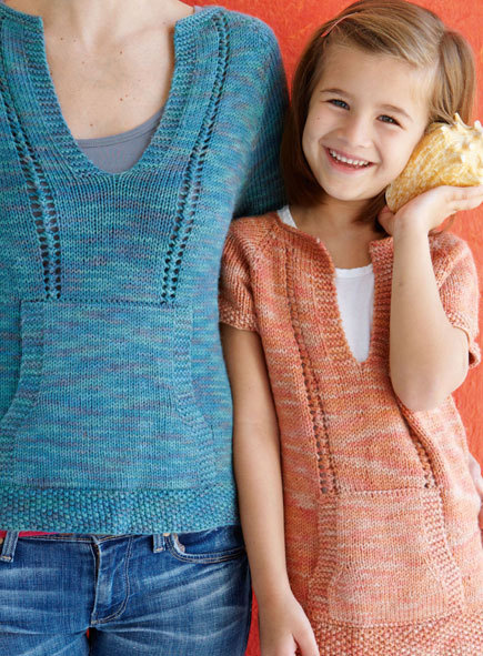 Free knitting pattern for Mom and Daughter Casual Knitted T-Shirts