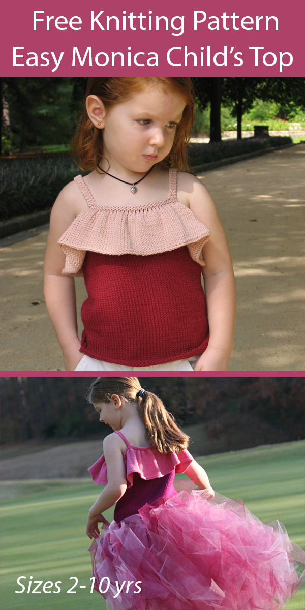 Free Knitting Pattern for Easy Monica Child's Top Sizes 2 to 10 yrs