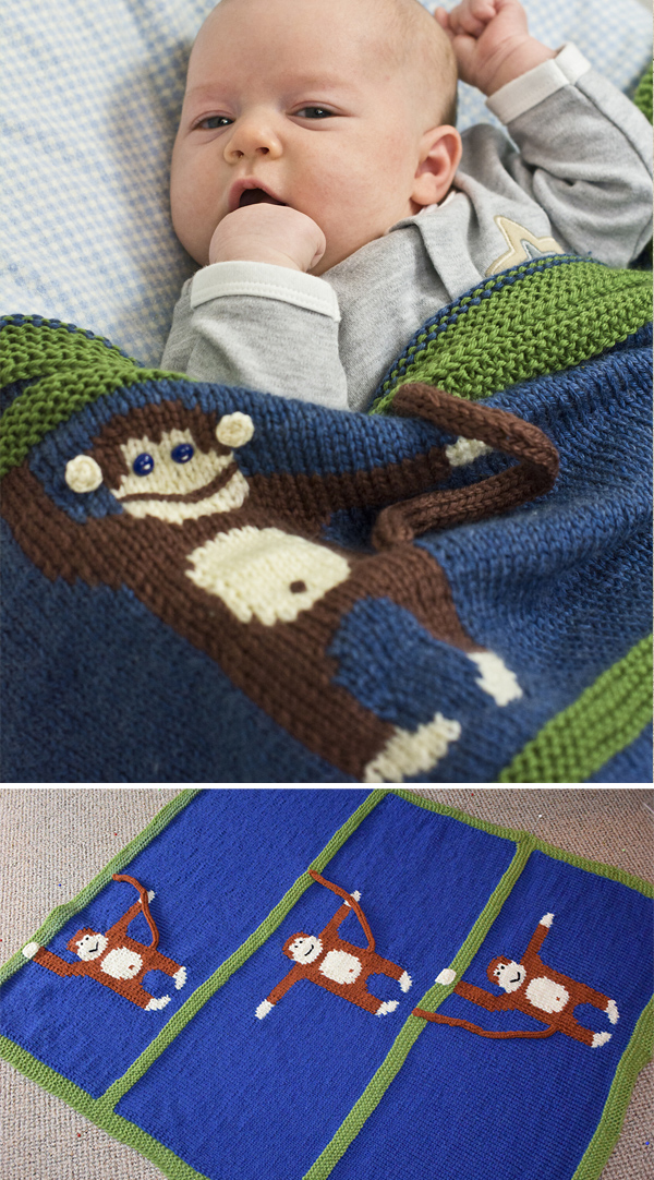 Free Knitting Pattern for Monkey Business Blanket