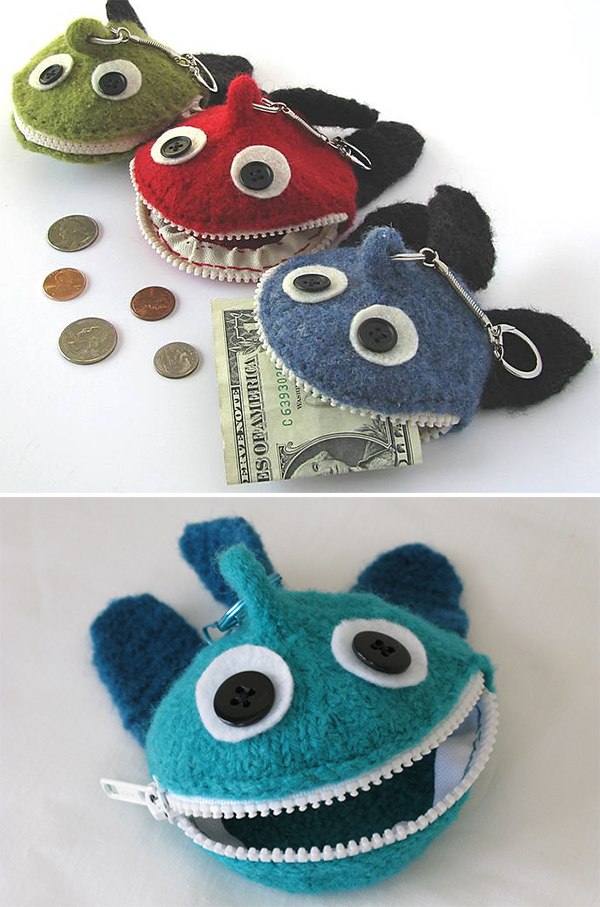 Knitting pattern for Monster Fish Coin Pocket