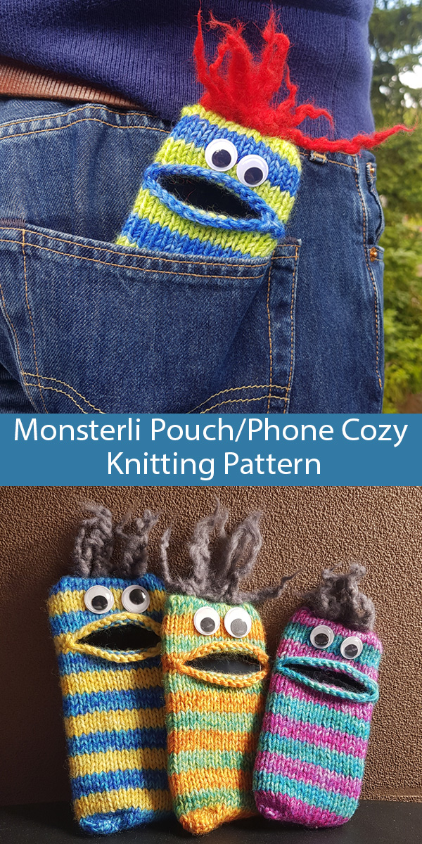 Knitting Pattern for Monsterli Pouch or Phone Cozy Stashbuster